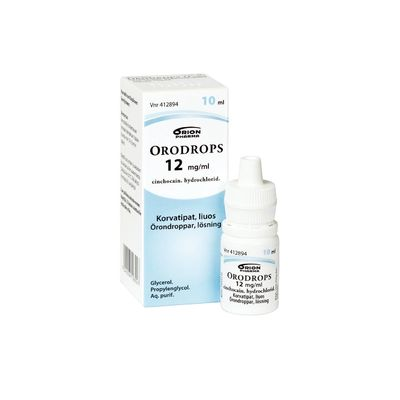 ORODROPS 12 mg/ml korvatipat, liuos 10 ml