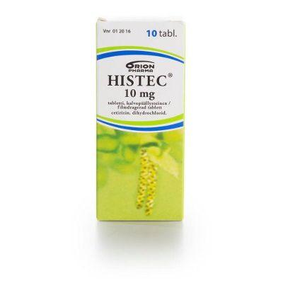 HISTEC 10 mg tabl, kalvopääll 10 fol
